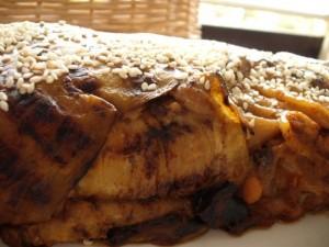 מאפה חצילים סגור בבשר צנובר ופסטה