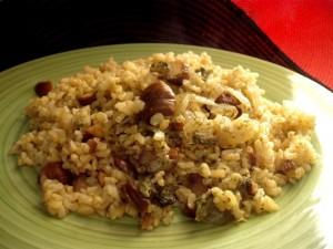 אורז מלא עם בצל וערמונים