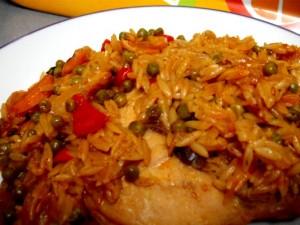 סטיק עוף עם ירקות ואורז-ארוחת מחבת
