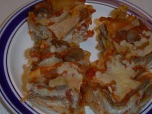 לזניה גבינות ופטריות