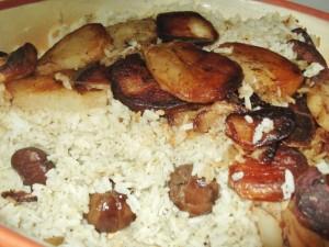 אורז פרסי עם ערמונים ותחתית תפוחי אדמה שחומים