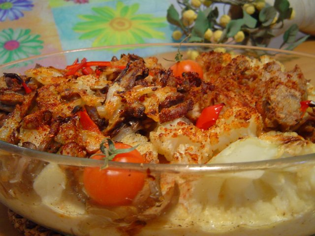 טונהה - כרובית בציפוי טונה ופטריות-מוקרם